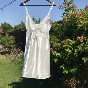 Vintage white silky nightie with mesh top